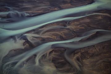 Vue aérienne rivière islandaise