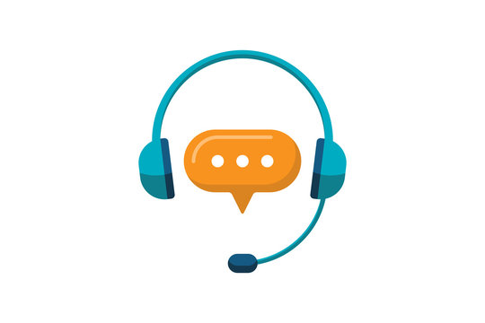 Online support service. Headphones with microphone and chat speech bubble. Customer consultation icon for ecommerce or elearning. Vector hotline secretary sign illustration