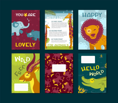 Set of template posters Happy african animals, cute happy characters