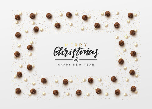 Christmas background with round chocolate candy, bead pearls, bright golden glitter. Handwritten text Merry Christmas and Happy New Year. Xmas greeting card, banner, web poster. Vector illustration.