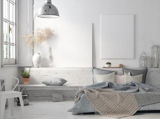 Poster mock up in rustic home interior, Scandinavian lifestyle concept, 3D render