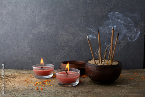 Burning aromatic incense sticks  Incense for praying Buddha