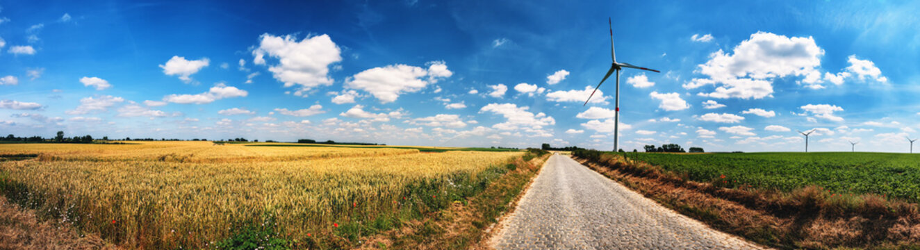 Panoramic summer landscape with country road and wind turbines