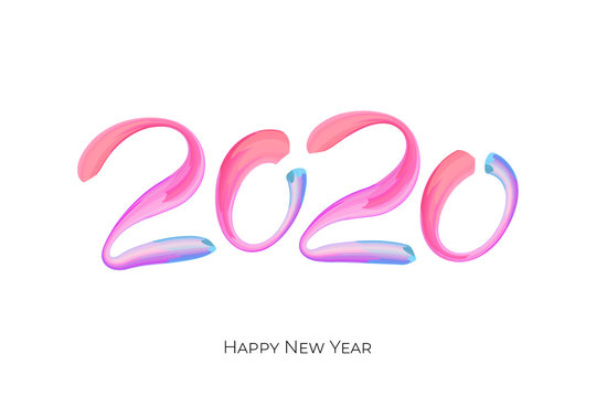 Happy New Year colorful brushstroke number 2020. Christmas winter holidays white greeting card calendar brochure template design. Vector acrylic paint calligraphy lettering text illustration