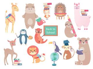 Set back to school Animals hand drawn style, education theme. Cute characters. Bear, giraffe, Toucan, hedgehog, owl, deer, hippo, penguin, sloth, beaver, lion, monkey, lama. Vector illustration