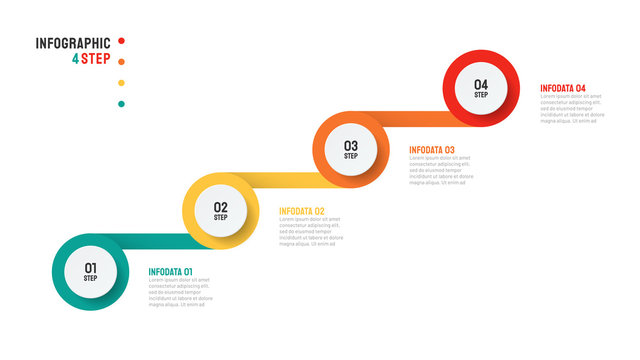 Timeline Infographic template design with modern startup levels. Business concept with 4 steps or options.Vector illustration.