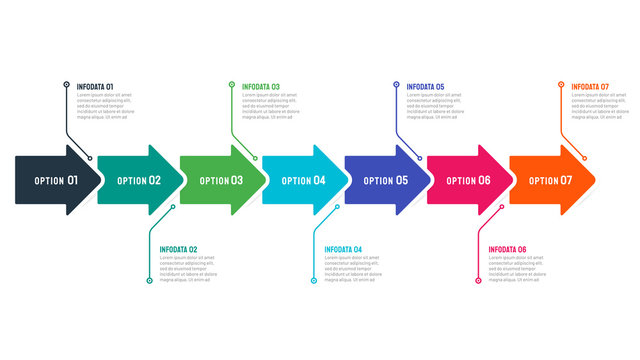 Timeline infographic template with 7 options, steps, arrows. Can be used for presentation,  process diagram. Vector illustration.