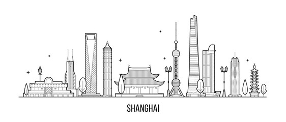 Wall Mural - Shanghai skyline China buildings vector linear art
