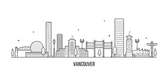 Wall Mural - Vancouver skyline Canada big city buildings vector