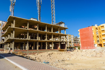 Construction of the new modern residential building in Hurghada, Egypt
