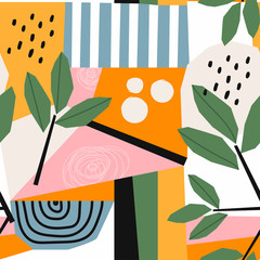 Wall Mural - Hand drawn various shapes and leaves, spots, dots and lines. Different colors. Abstract contemporary seamless pattern. Modern patchwork illustration in vector