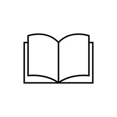 Book vector icon. Library logotype. Paper book.