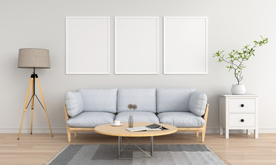 Three empty photo frame for mockup in living room, 3D rendering