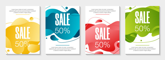 Set of 4 abstract modern graphic liquid banners. Dynamical waves different colored fluid forms. Isolated templates with flowing liquid gradient shapes. For the special offer, flyer or presentation.