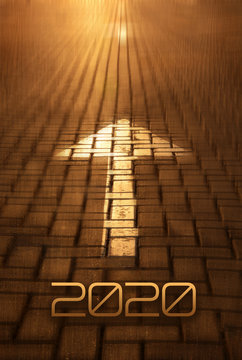 2020 Arrow on the road background. Forward New Year concept with arrow at the sunset
