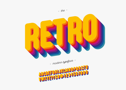 Vector 3d retro font bold style