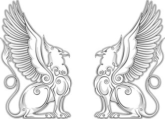 Gryphon mythical creature power and strength symbol vector eagle head lion body bird wings heraldic emblem.