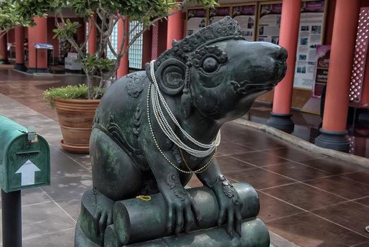 statue of rat or mushika vahana or Hindu God Ganeshas Mount as in mythology