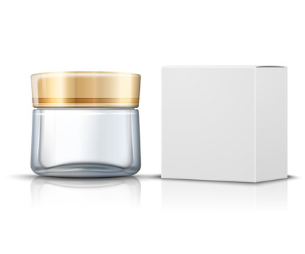 Vector 3d realistic transparent glass jar for moisturizing cream with white paper box. Mock-up for product package branding.