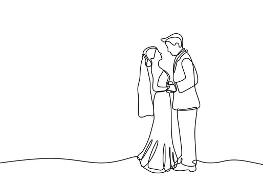 Continuous line couple in wedding dress lovable theme isolated on white background