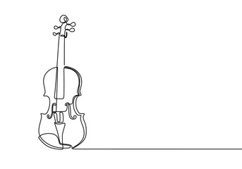 Violin continuous line drawing minimalist design Wall mural
