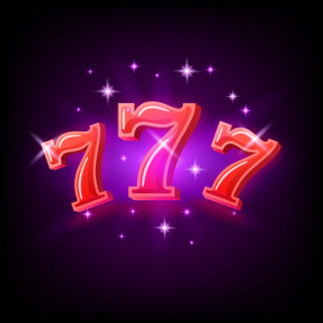 Big win slots red 777 banner casino on the purple background. Vector illustration