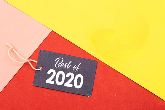 tag with best of 2020 isolated on colorful background, new year concept