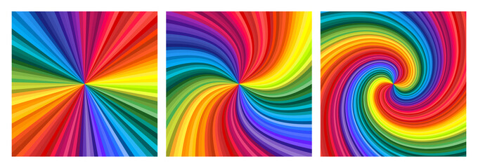 Backgrounds set of vivid rainbow colored swirl twisting towards center. Vector illustration Wall mural