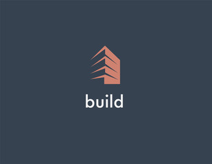 Abstract geometric logo building construction architecture for company