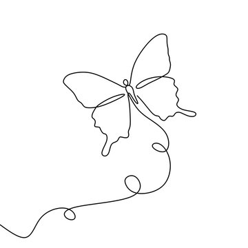 Continuous line drawing of a butterfly minimalism design on white background