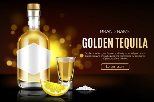 Tequila bottle, shot glass, salt and lemon slice mock up banner, glass flask with golden liquid and blank label mockup, mexican strong alcohol drink advertising design Realistic 3d vector illustration