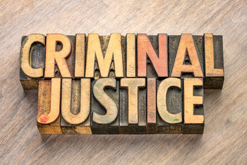 criminal justice words in wood type