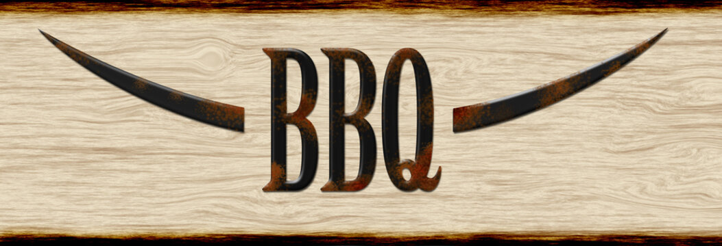 BBQ wooden sign with rusty font