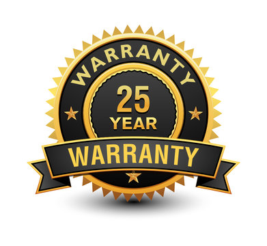 Heavy powerful 25 year warranty badge, seal, stamp, label with ribbon isolated on white background.