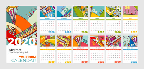 2020 calendar abstract contemporary art vector set. Desk, screen, desktop months 2020, colorful 2020 calendar template, agenda pattern. Psychedelic sketched calendar, day planner. Set 12 month pages.
