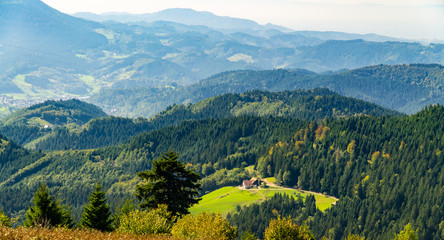 Zelfklevend Fotobehang Groen blauw Mountains in Blackforest in Germany