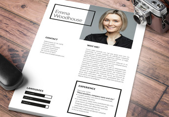 Resume Layouts with Gray and Pink Accents
