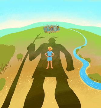 Little David stands under huge shadow of Goliath