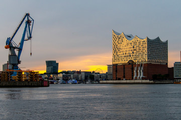Hamburg Panorama of the Harbor at sundown
