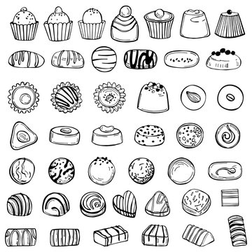 Hand drawn candy  set. Handmade chocolates. Vector sketch illustration.