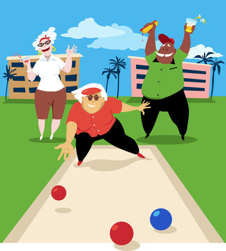 Group of active seniors playing bocce ball, EPS 8 vector illustration