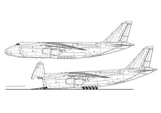 Antonov An-124 Ruslan Condor. Outline vector drawing