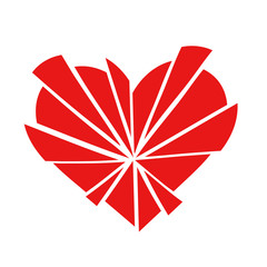 Shattered red love heart icon in 15 pieces, isolated on a white background