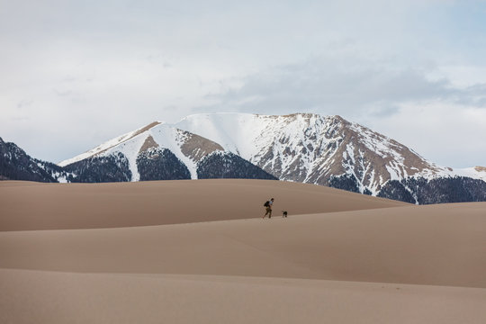 man and his dog walk in the colorado sand dunes under snowy mountains
