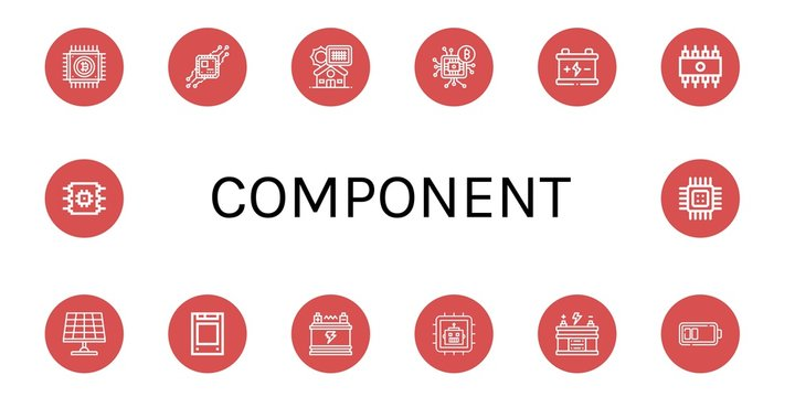 Set of component icons such as Cpu, Solar panel, Microchip, Battery, Rom, Solid state drive , component