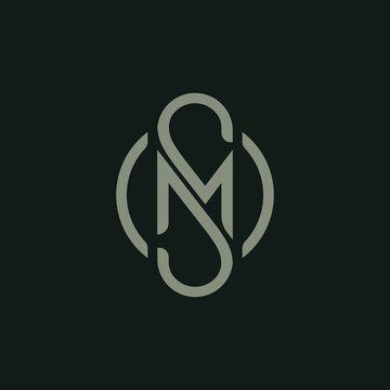 Letter M S icon logo design template.creative initial S M symbol
