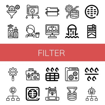 Set of filter icons such as Filter, Lubricant, Data, Barista, Data processing, Sewer, Cigarette, Process, Flow, Camera bag, Drain, Funnel , filter