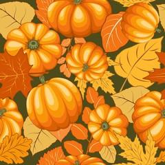 In de dag Draw Pumpkins and Autumn Leaves Joyful Thanksgiving Halloween Party Vector Illustration