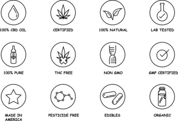 CBD oil icon set with elements such as non gmo, thc free, natural, CBD oil,  eye dropper, warning label, and made in America