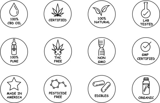 CBD oil vector icon set with labels for thc free, non gmo, organic, oil, 100% natural, and made in America